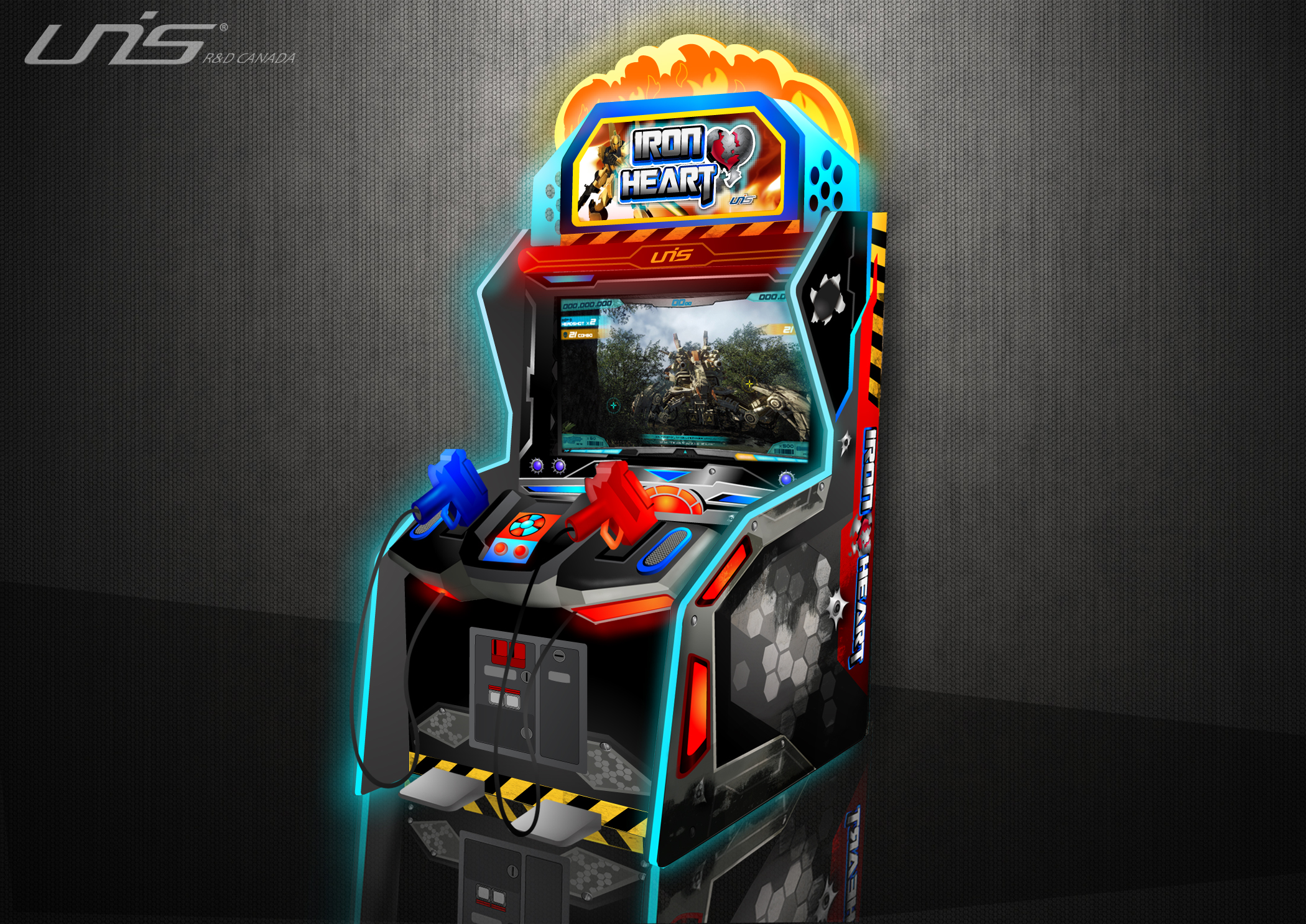 Iron Heart Arcade game: Created design of overall cabinet, lighting, decals, stickers and logos.