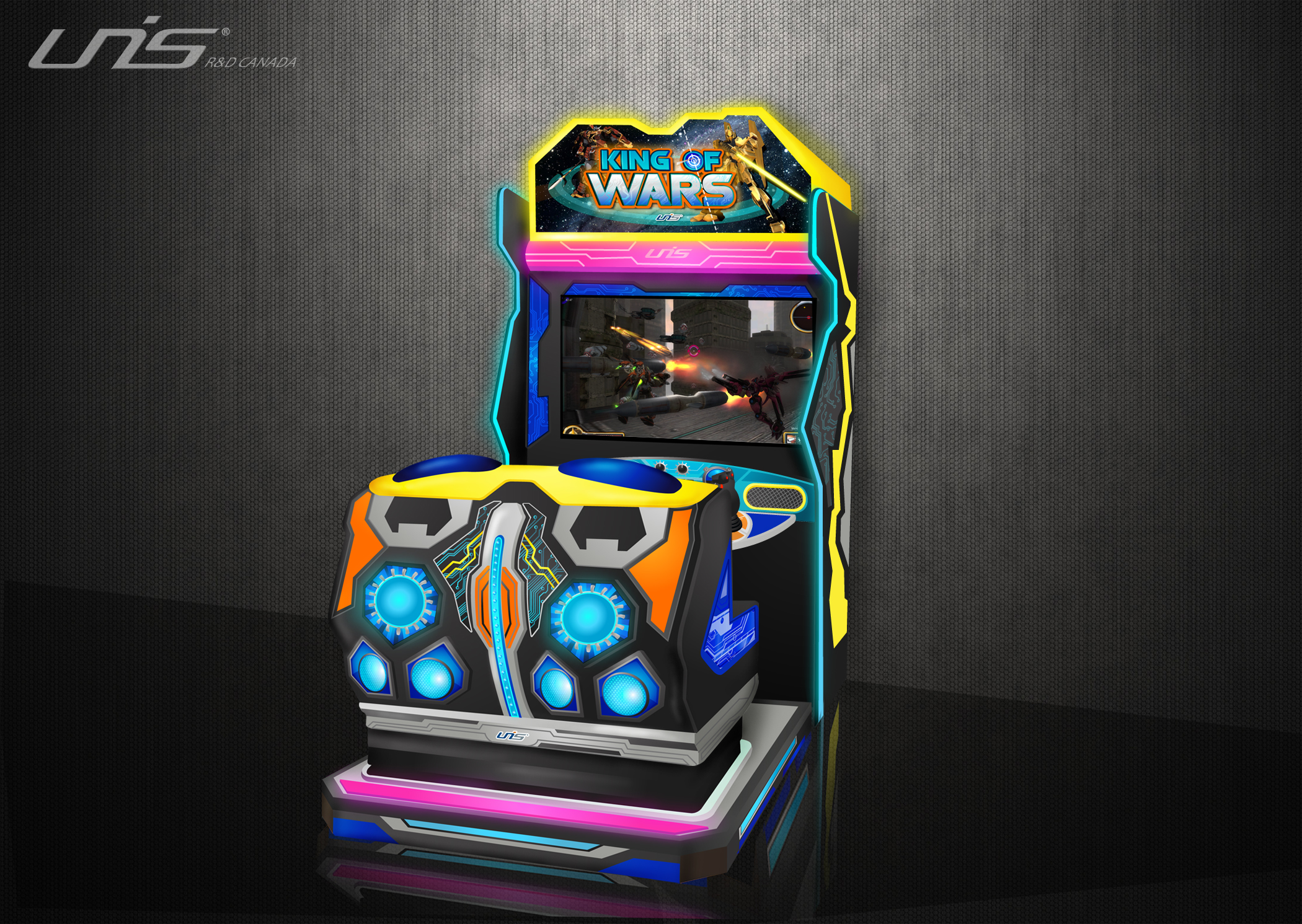 King of War Arcade game Design. Created cabinet design, decals and all logos.