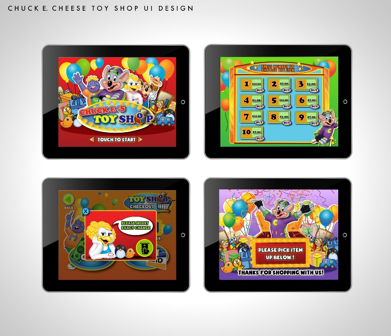 Mock up created for chuck-e-cheese. Client wanted to develop a toy purchasing app where it will be easy and intuitive for children to check out.