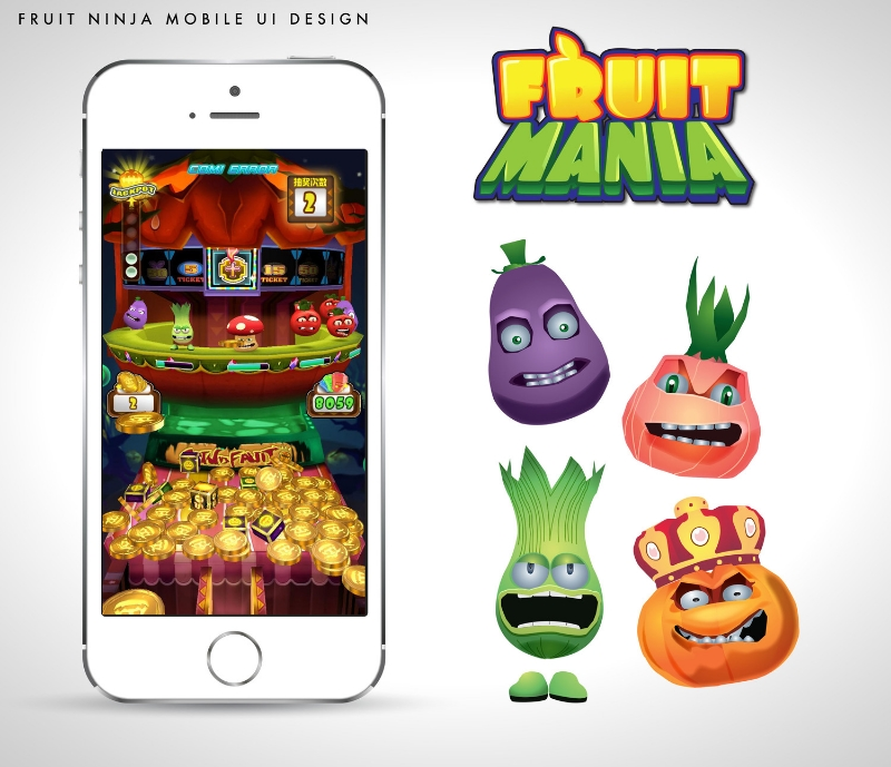 Design for the mobile version of Fruit Mania. The goal was to redesign an arcade version to fit in a much smaller screen space while still functioning just a well.