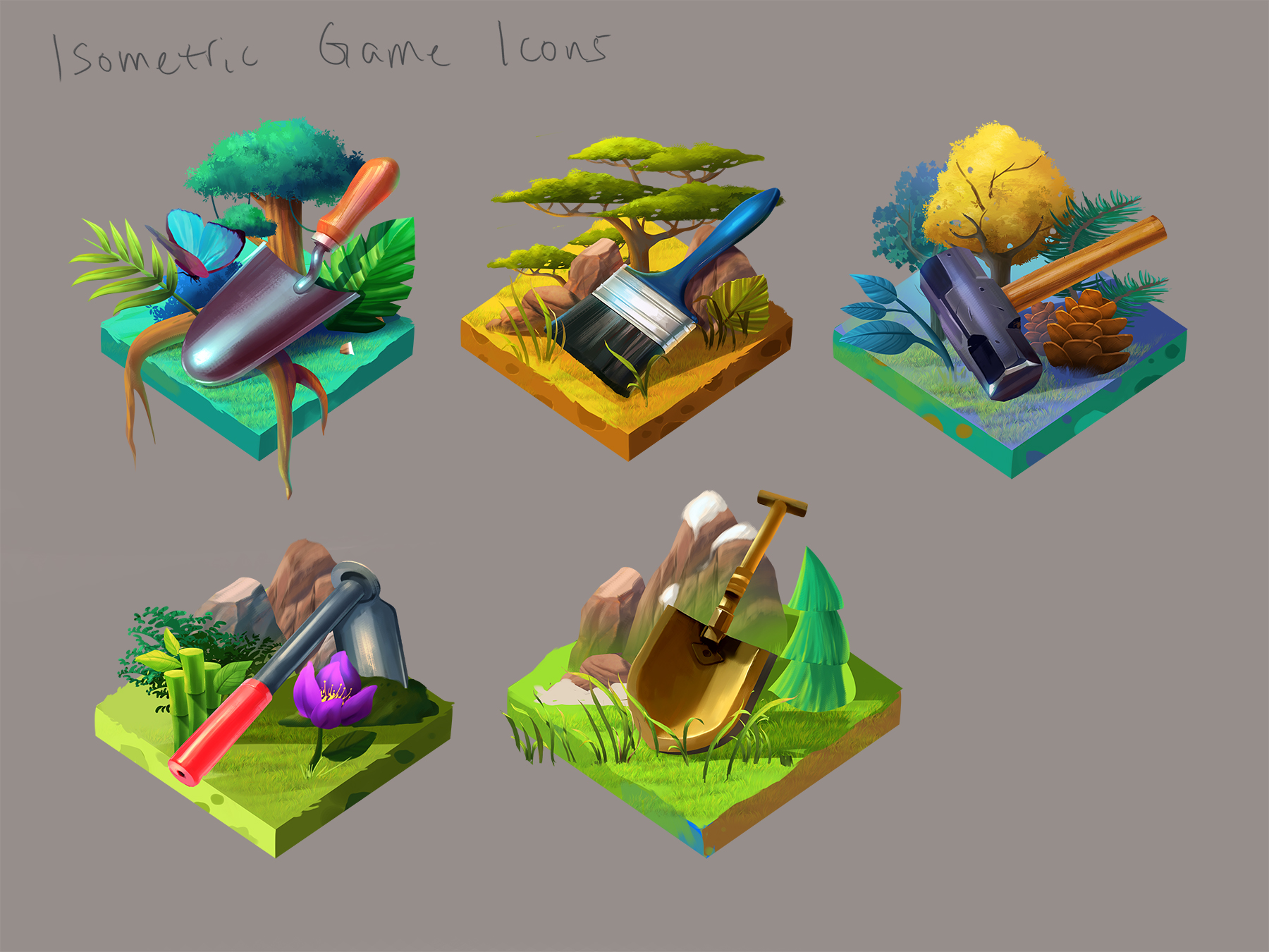 Isometric game icons designed for the UI screen.