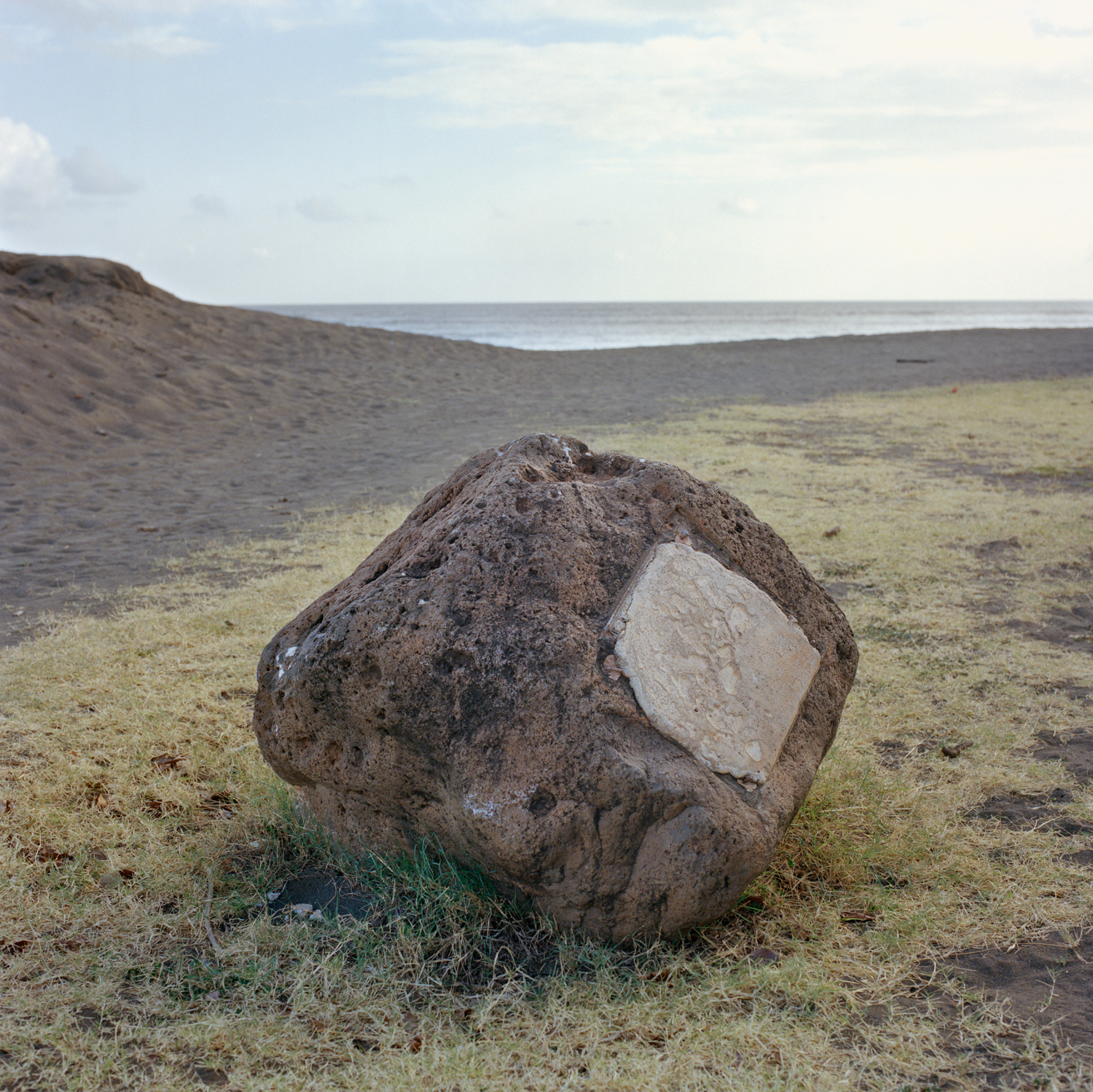 Defaced monument, Captain Cook Landing Site, Lucy Wright Beach Park, Kaua'i, Hawai'i  2012, archival inkjet print, 42 x 42cm.