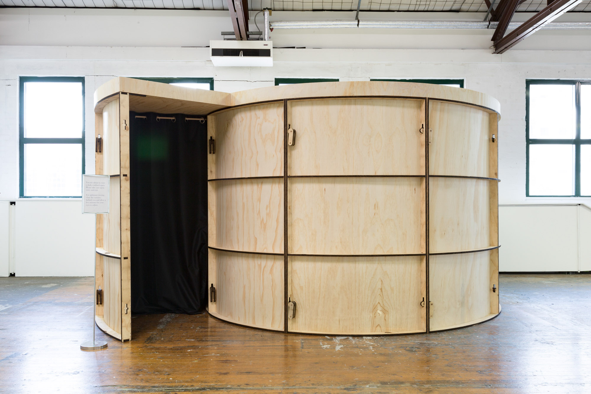 Camera obscura, Boon Wurrung and Wurundjeri, 2017. Plywood, nails, screws, fabric, cardboard, dimensions variable.