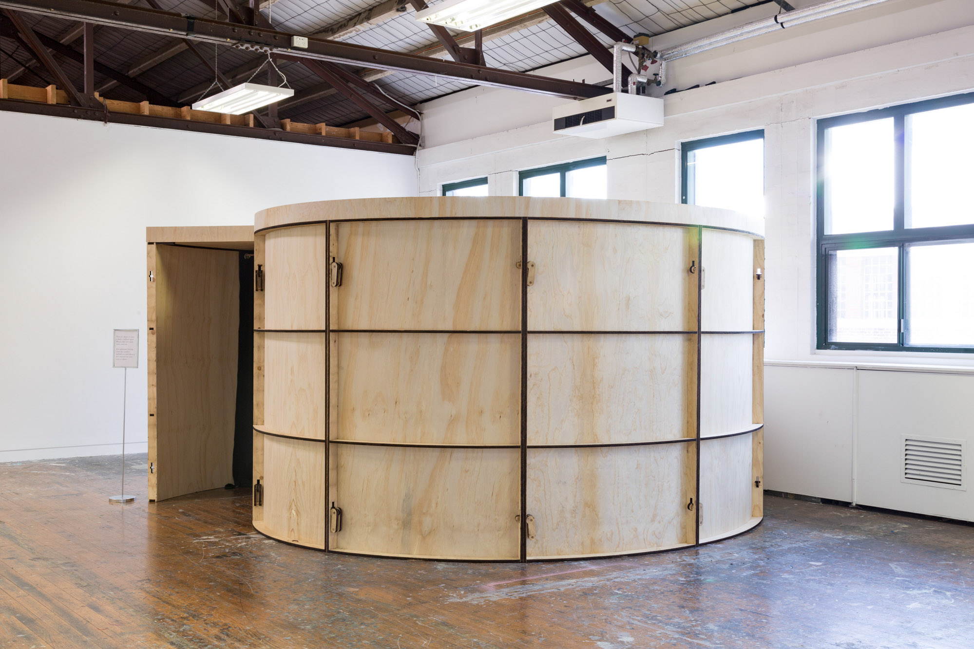 Camera obscura (Boon Wurrung and Wurundjeri), 2016. Plywood, timber, curtains, cardboard, dimensions variable.