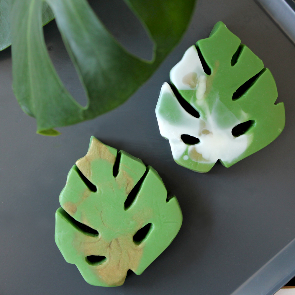 Final molded Monstera Delicious soaps. now available  here .