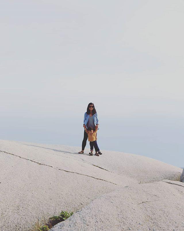Kids who climb on rocks #peggyscove #eastcoastroadtrip