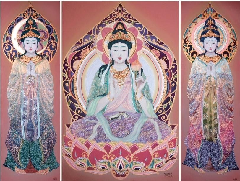 光三尊 (2013) 30cm x 90cm / 65.2cm x 100cm / 30cm x 90cm Acrylic on canvas