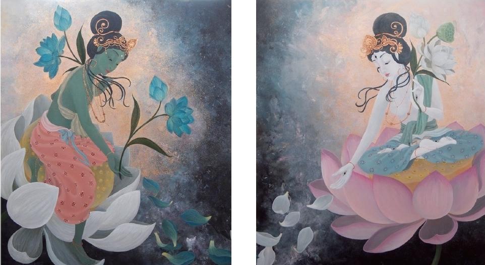 Left: Green Tara (2015) Right: White Tara (2015) 45.5cm x 53cm (F10) 45.5cm x 53cm (F10) Acrylic and Japanese gold paint on canvas
