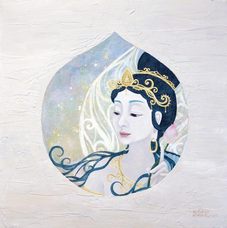 朝の御霧 (2017) 27.3cm x 27.3cm (S3) Acrylic and Japanese gold paint on canvas