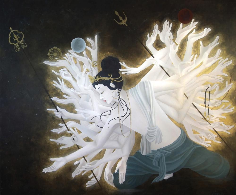 千早振る (2015) 194cm x 162cm (F130) Acrylic and Japanese gold paint on canvas