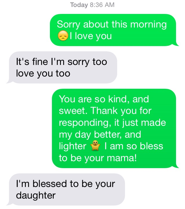 Mom and daughter conversation