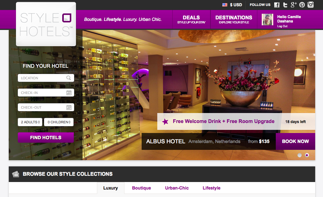 StyleHotels' welcome page © Style Hotels