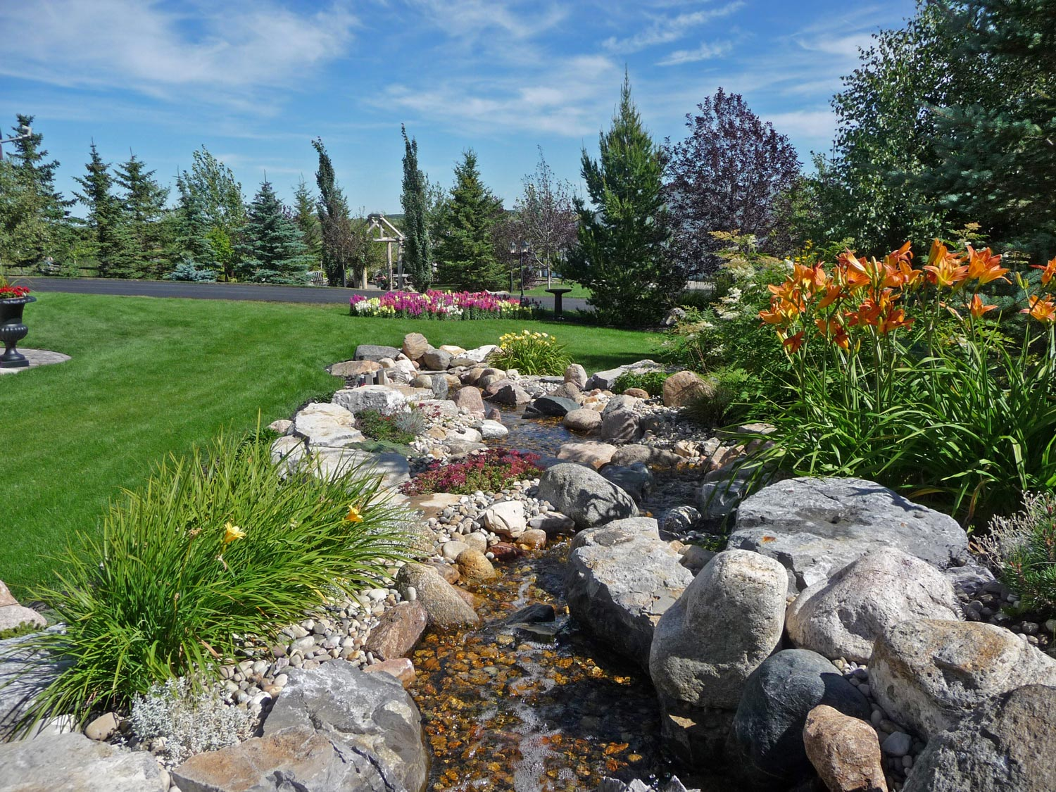 natural stream and landscaping garden