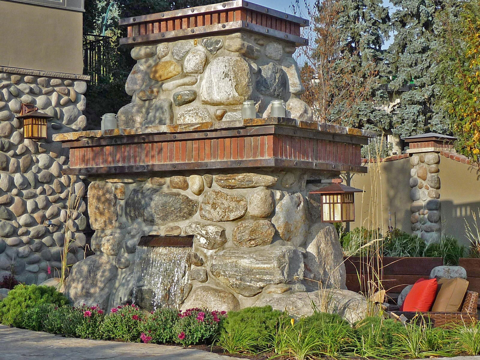 craftsman style outdoor fireplace