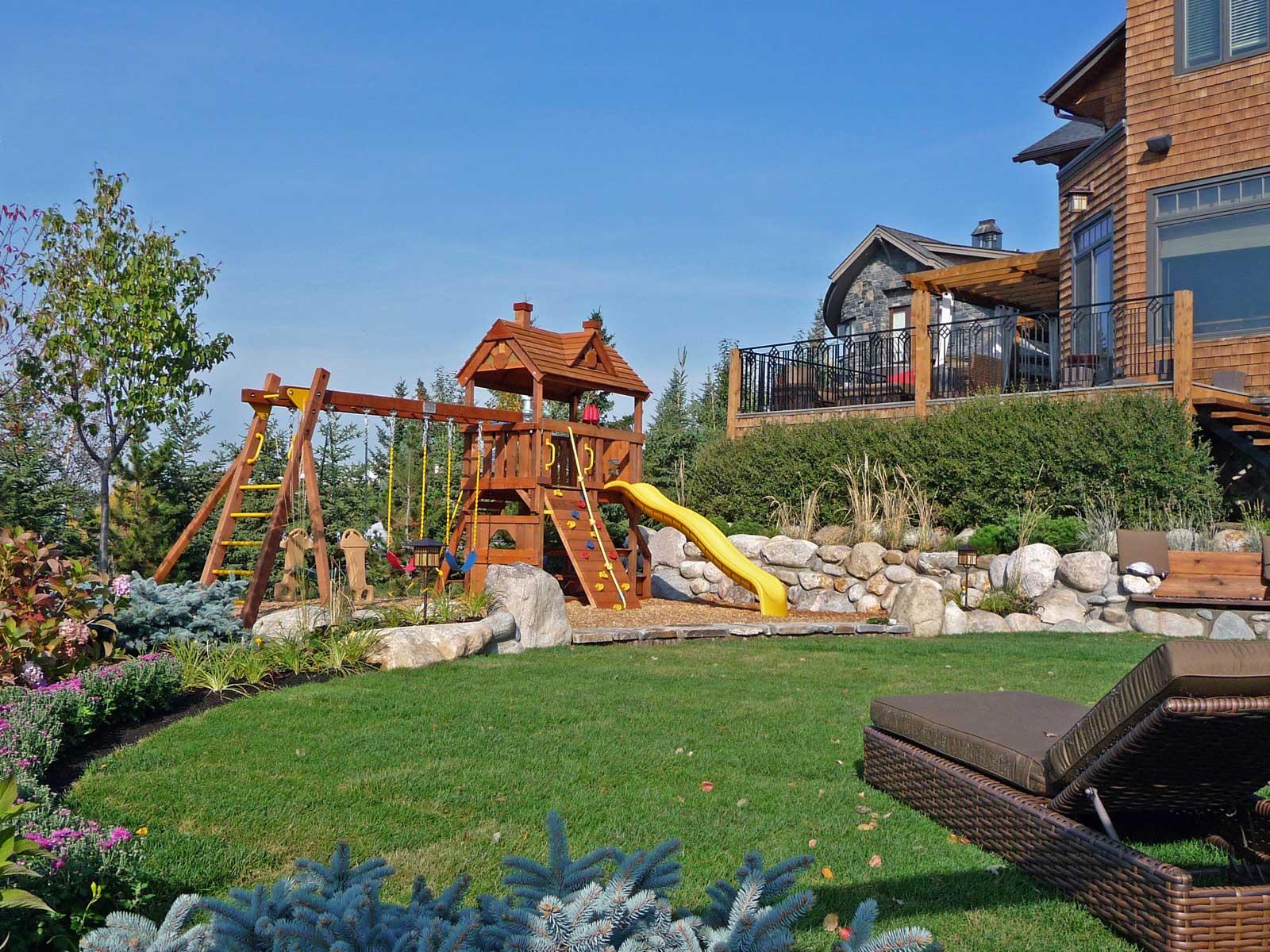 playground structure and garden