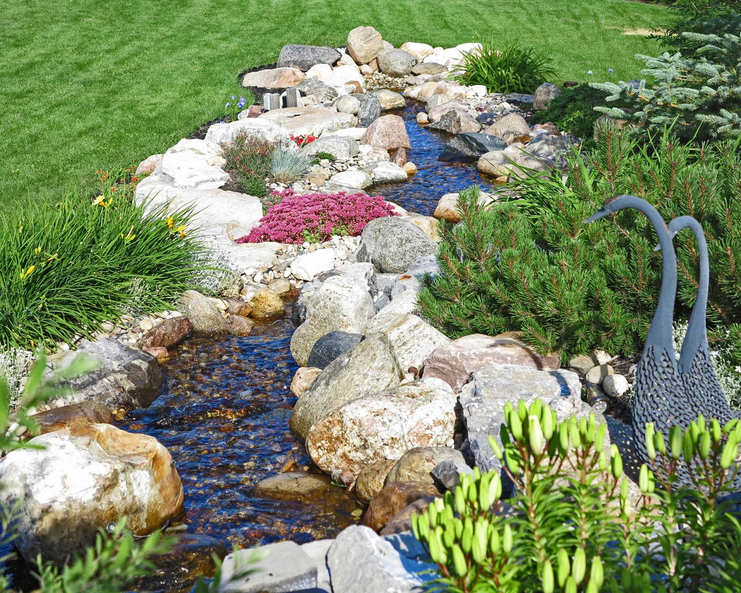 natural stream and boulder water feature