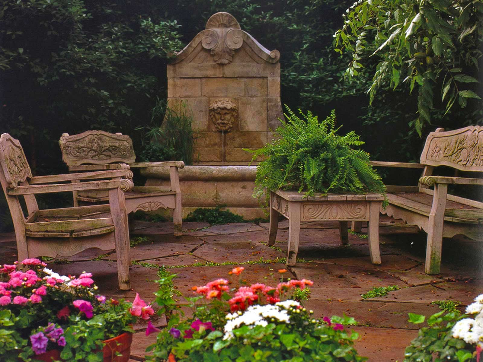 garden fountain and seating area