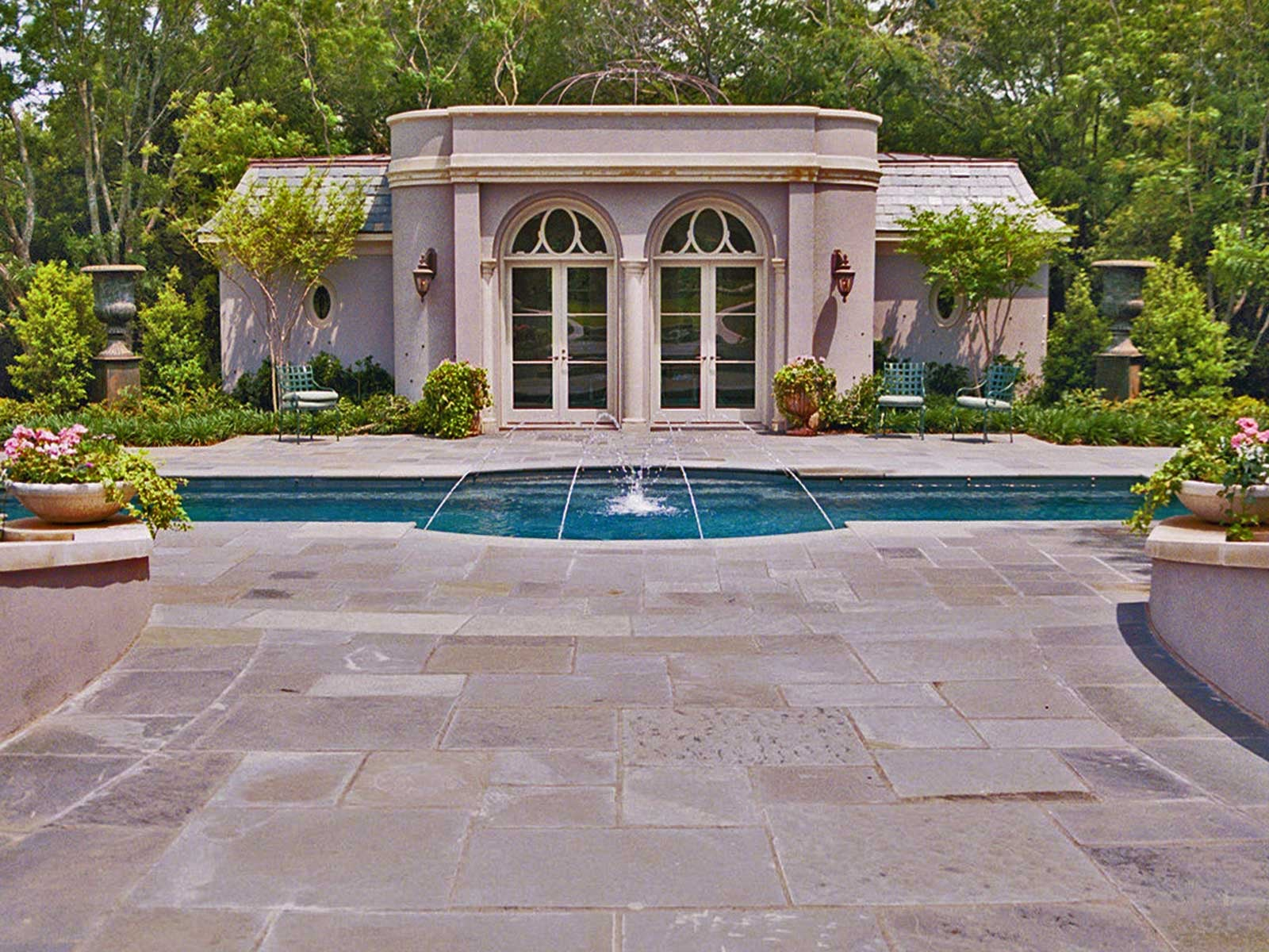 preston hollow formal swimming pool and pool house