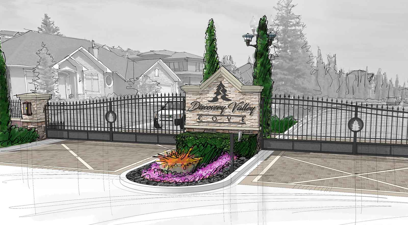 | Conceptual r  endering of the updated entry gate design for the Discovery Valley Cove - Calgary.