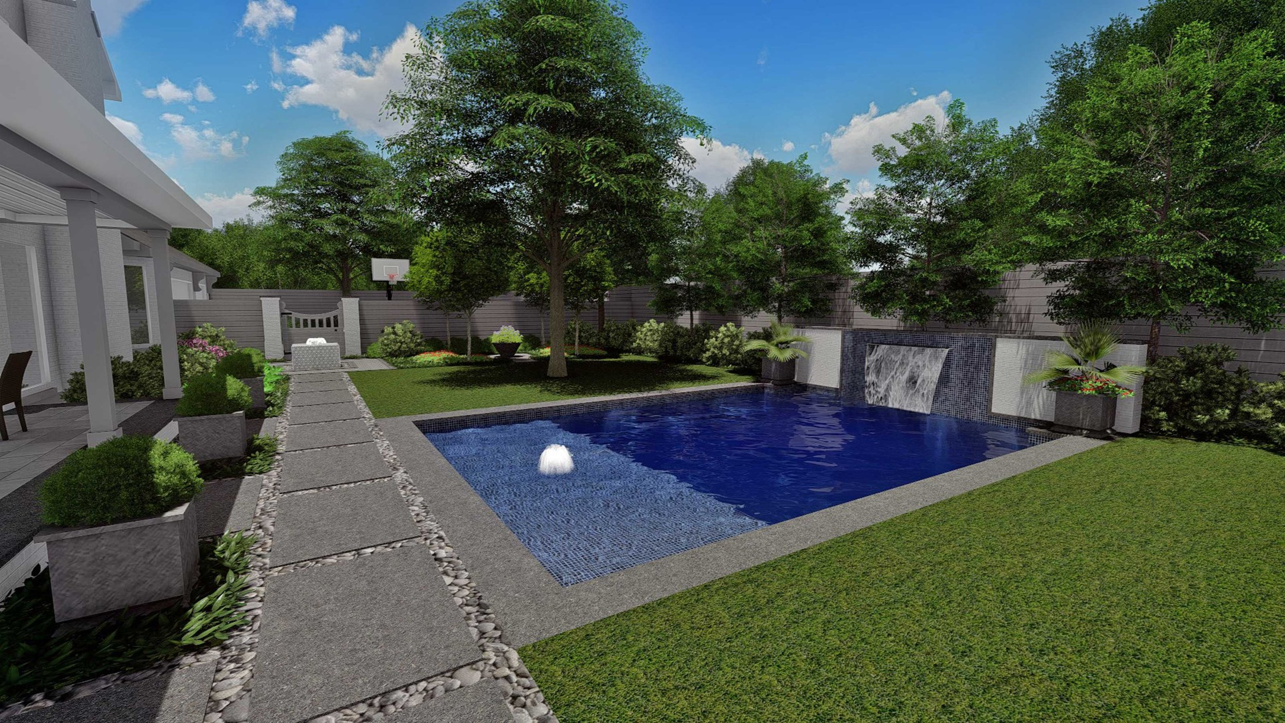 Pool & Rear Garden View