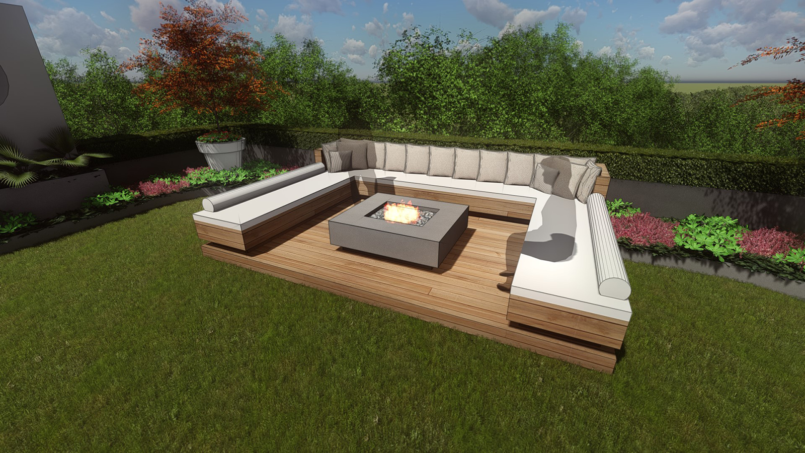 RAISED FIRE PIT SEATING AREA