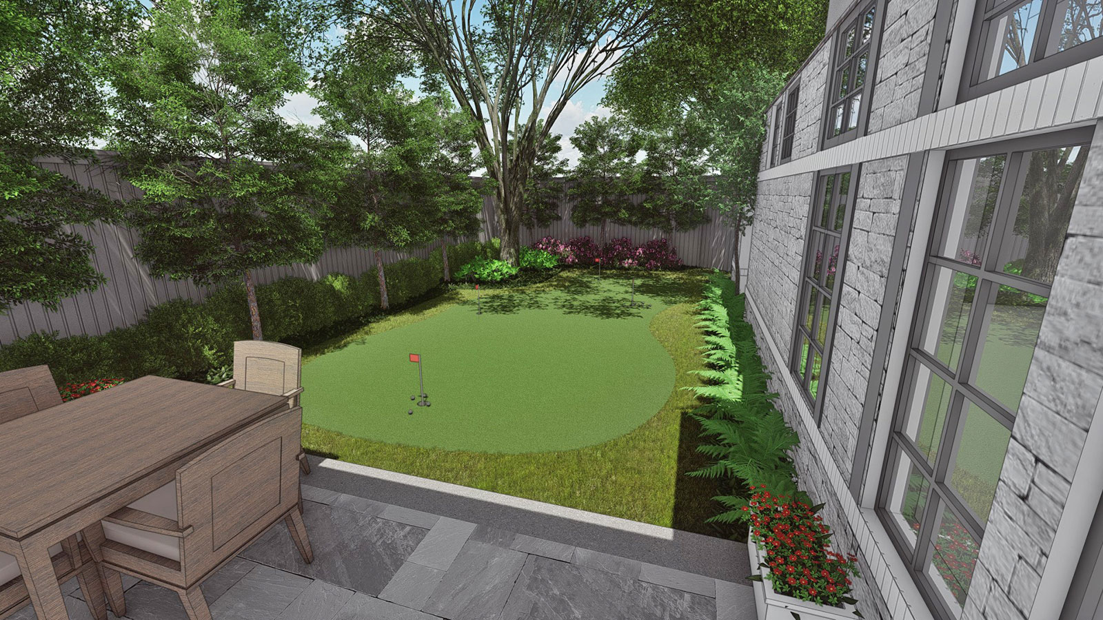 REAR GARDEN & PUTTING GREEN