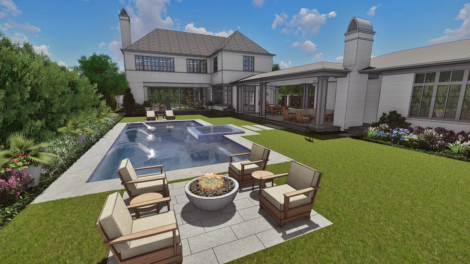 FIRE PIT & POOL VIEW TO HOUSE