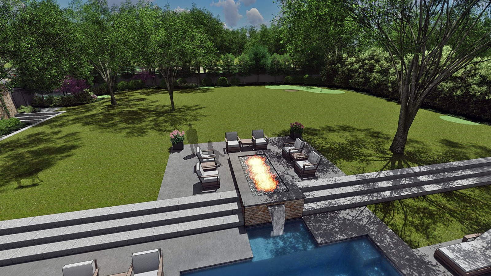 FIRE PIT SEATING & REAR LAWN