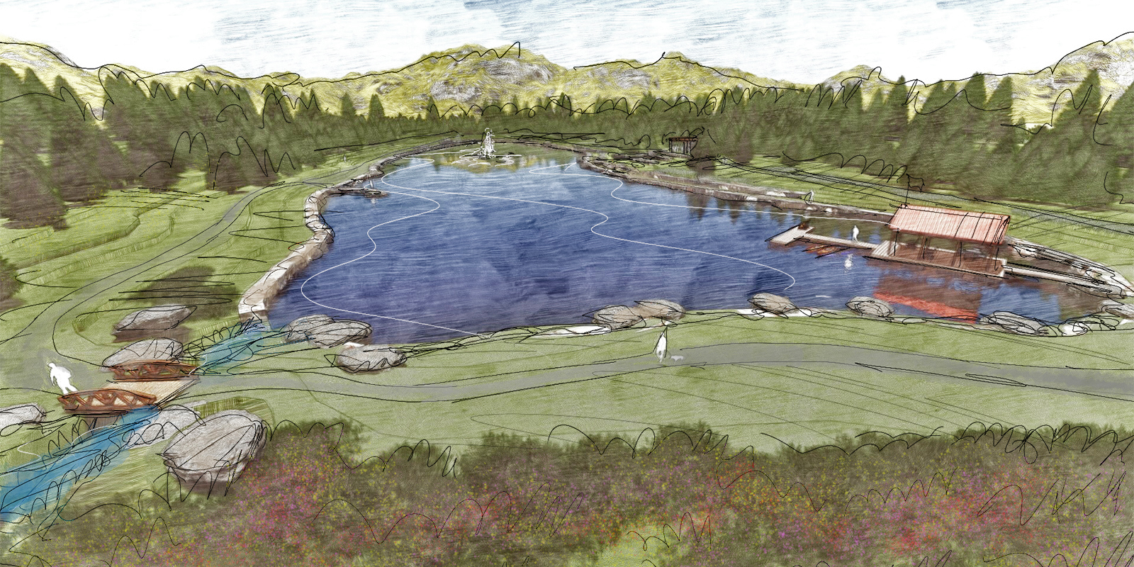 ELK PARK RANCH - Lake park, boathouse & hiking trails