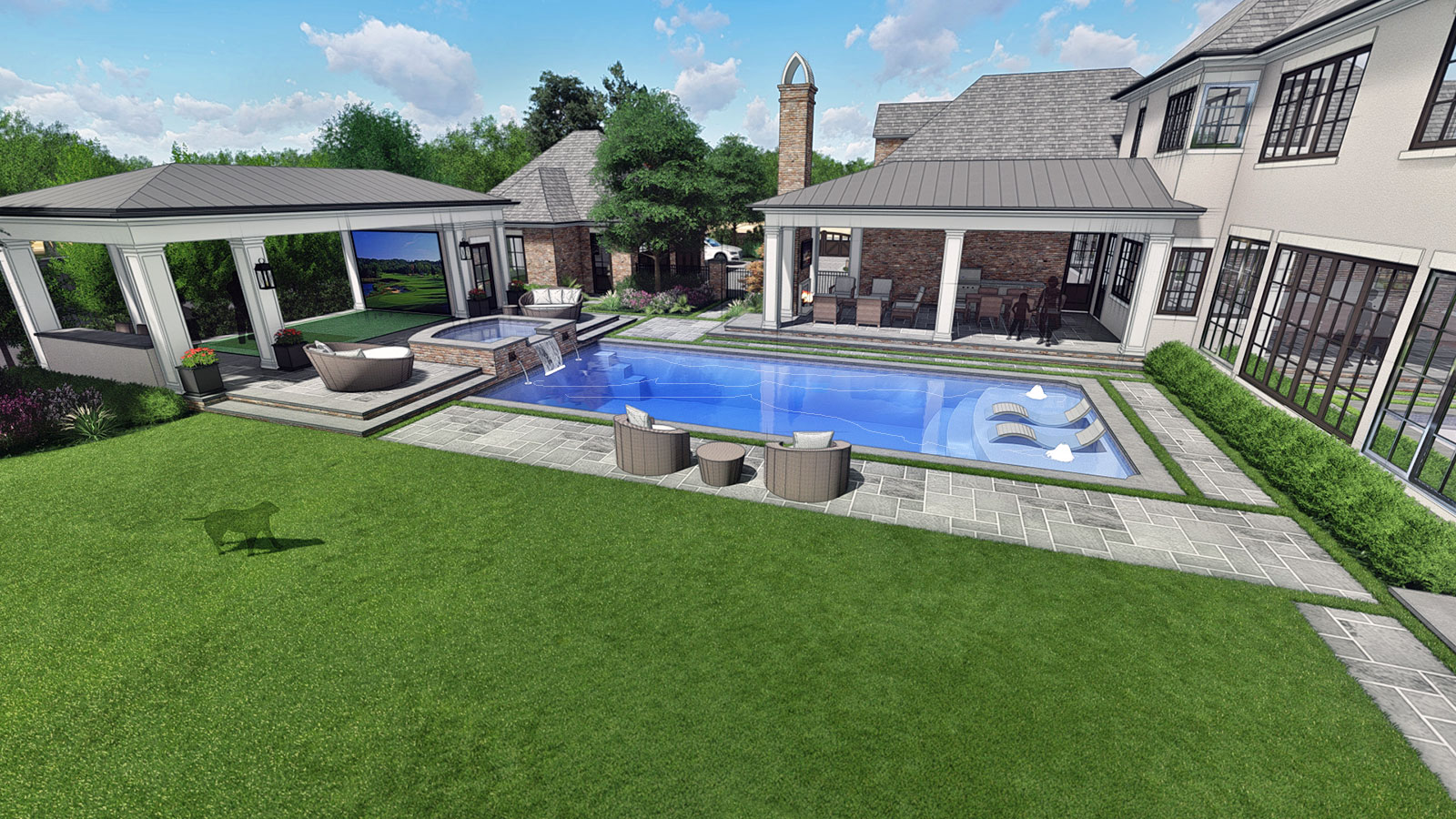 REAR LAWN & POOL AREA