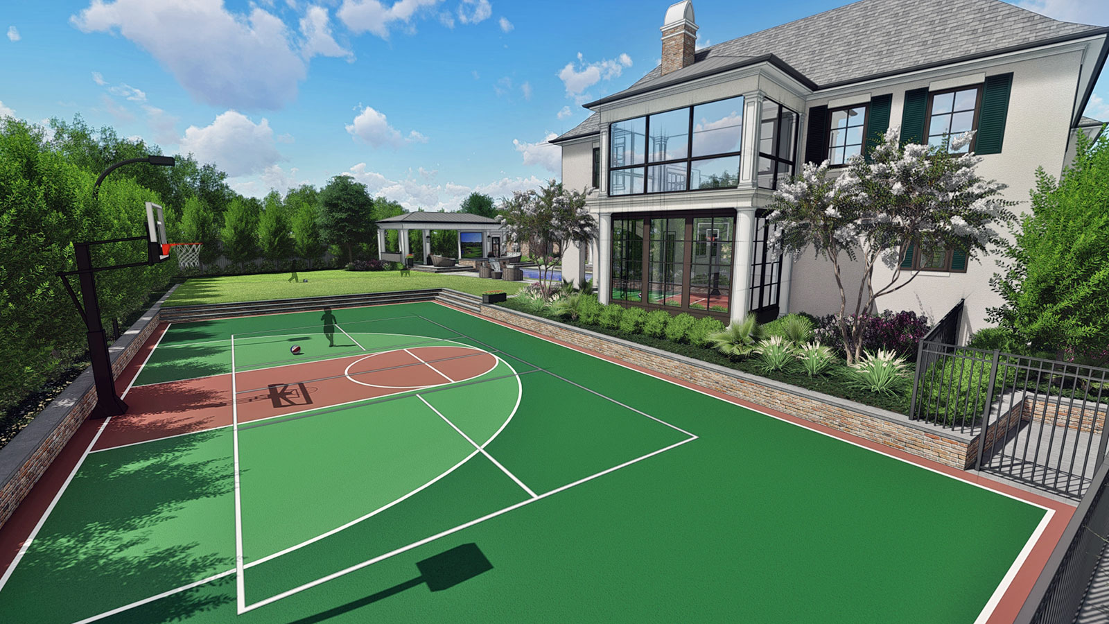 SPORT COURT VIEW TO HOUSE