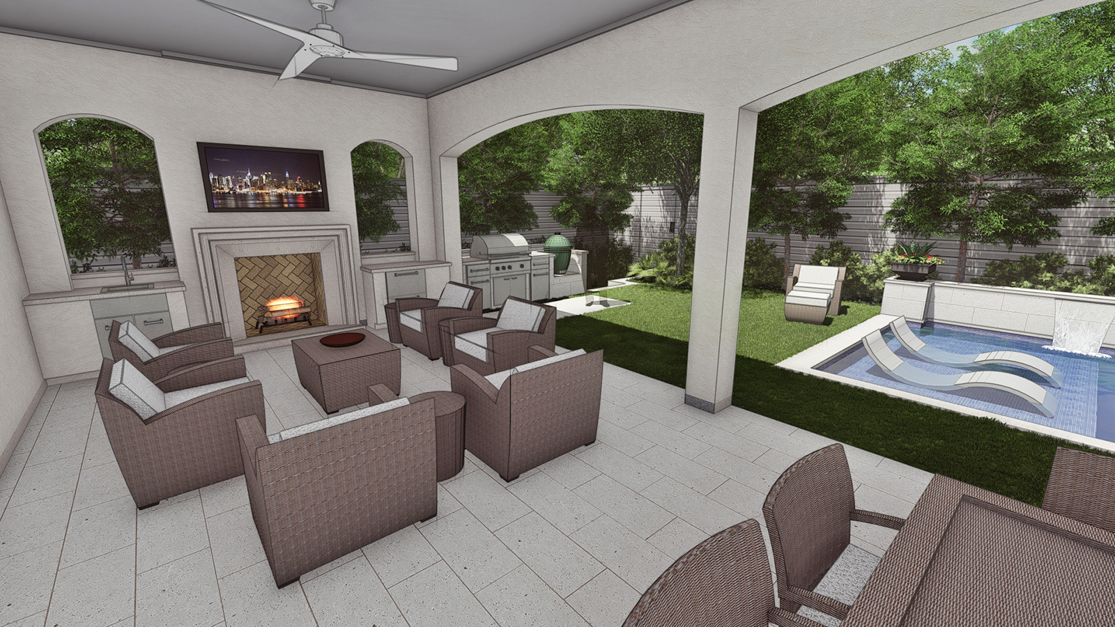 VIEW OF COVERED PORCH, FIREPLACE & GRILL AREA