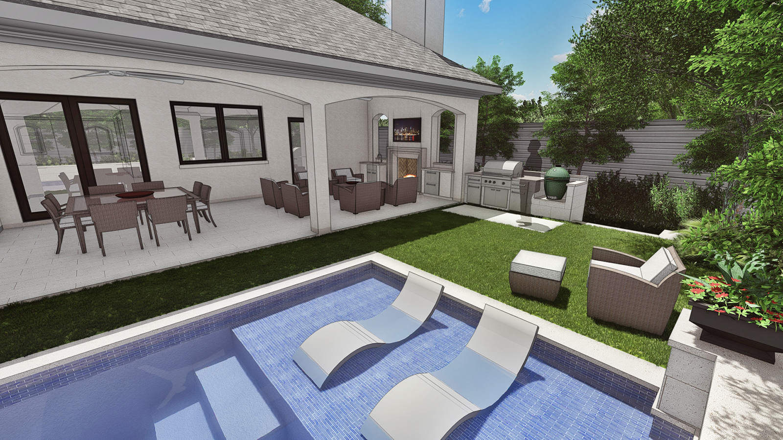 POOL VIEW OF WEST END, PORCH & GRILL AREA