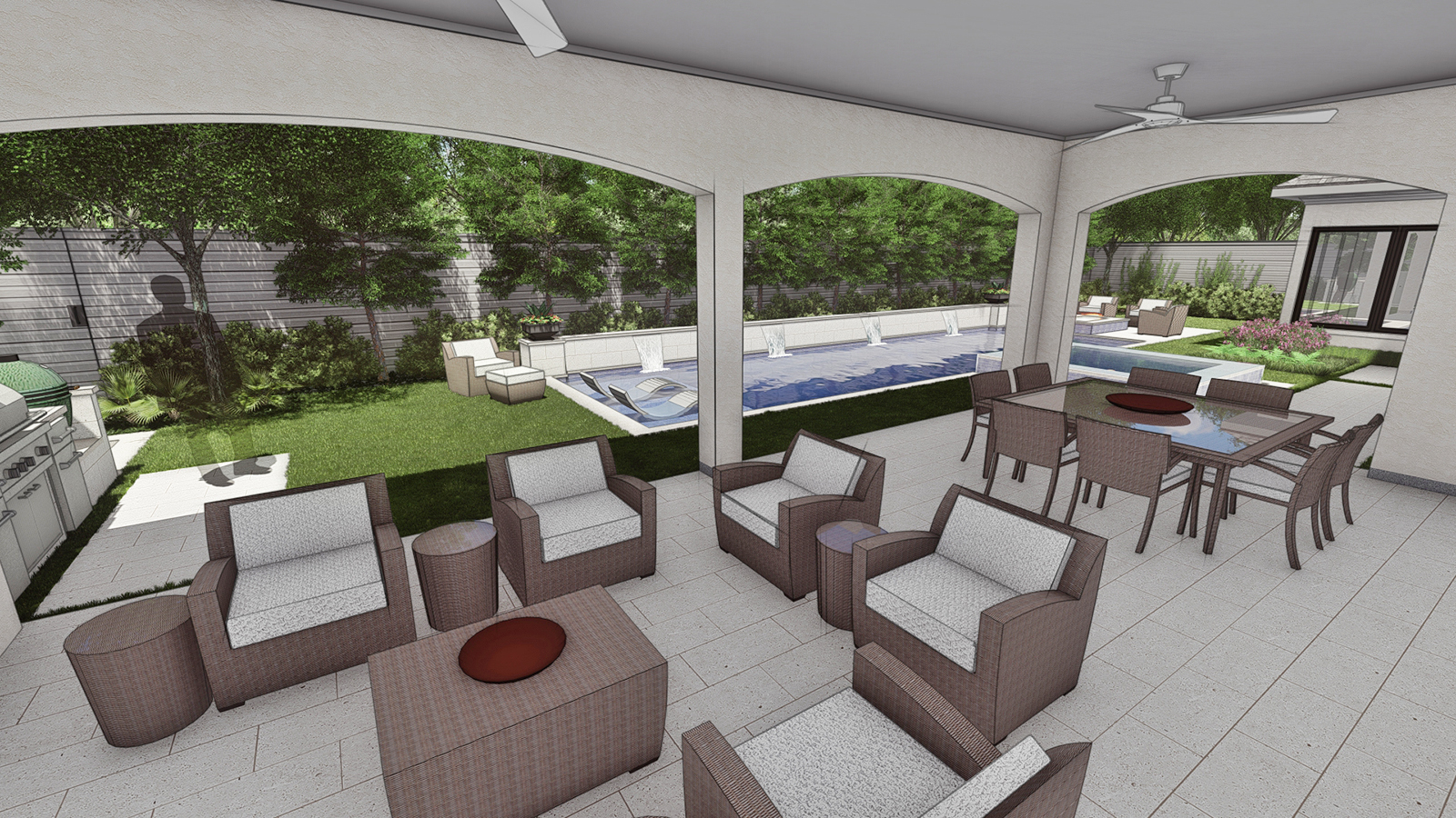 VIEW OF COVERED PORCH TOWARD POOL