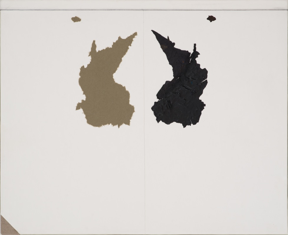 Peter Adsett   Painting number 7  2014  Paint skin, torn paper,  white paper, paste board, gesso, rice paper glue, linen, stretcher frame  57 x 70 x 2.2cm   AUD $3,500