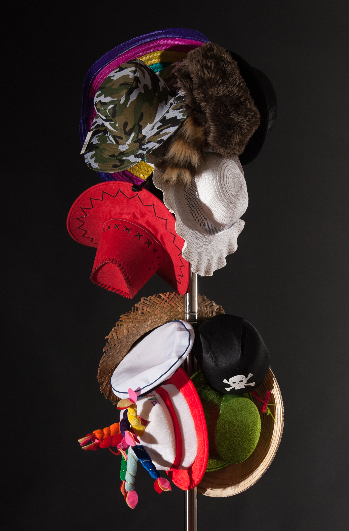 Hat Stand (Waiting for Godot)  2014  Stainless steel hat stand, dress-up hats  Approx. 190 (h) x 50 (w) x 50cm (d)