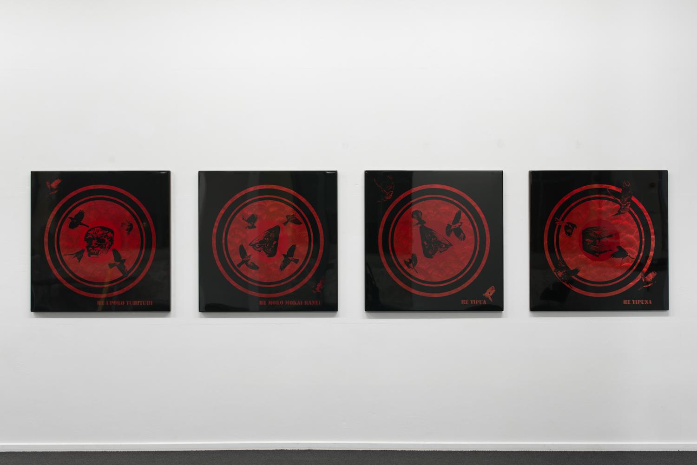He Upoko Tuhituhi, He Moko Mokai ranei, He Tipua and He Tipuna  2012  Lacquer on stainless steel  4 @ 1 × 1m