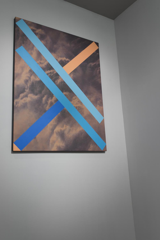 Hold Back #5  2014  Pigment in print, glaze, acrylic and matt varnish on canvas  137 × 106cm