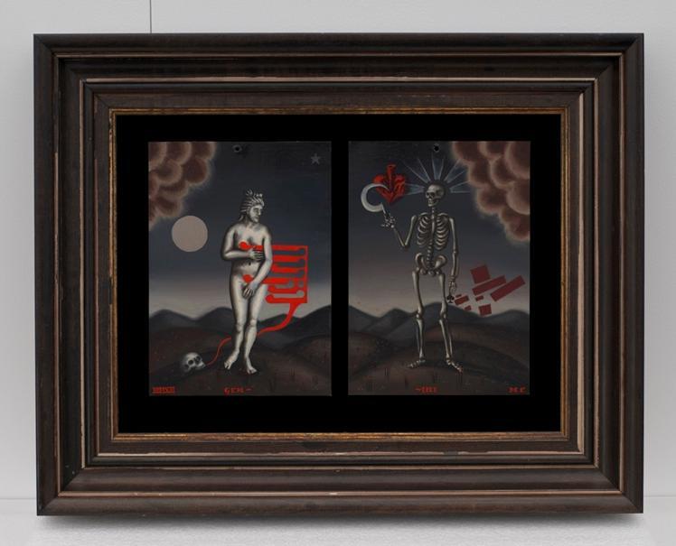 Gemini (diptych), 2013, Oil on metal, 7x10%22 framed.jpg