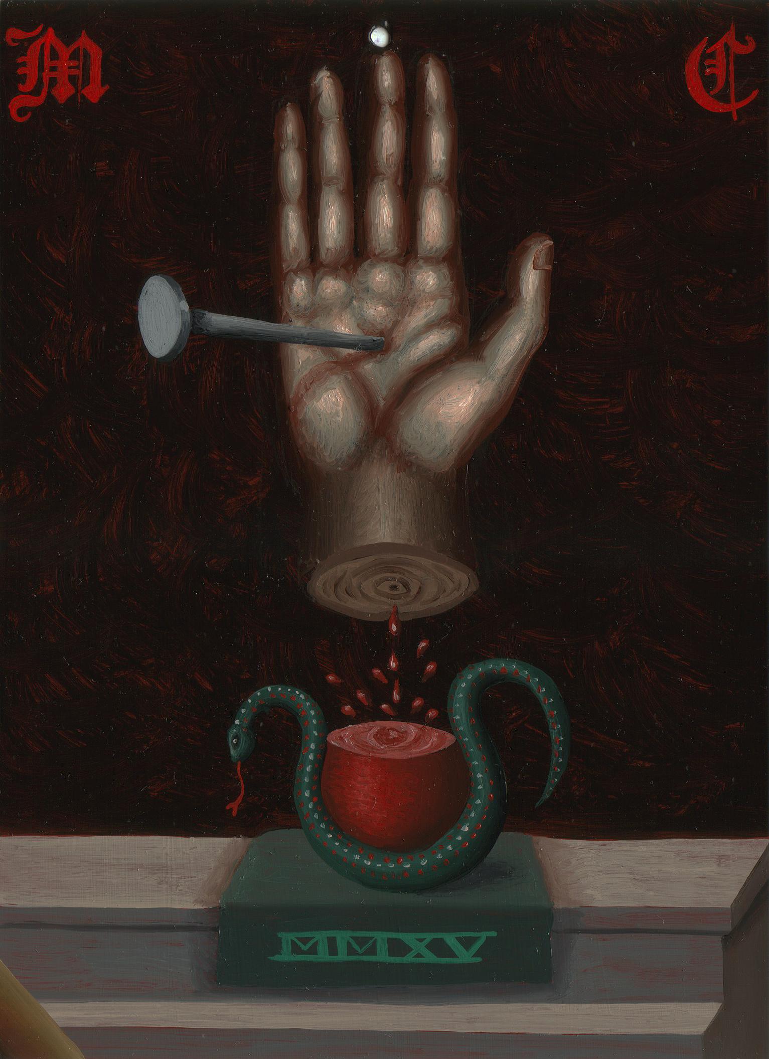 Matthew Couper, Mnemonic Monogram 1, Hand-snake, 2015, Oil on metal, 7x5%22, 17.7x12.7, AUD $750.jpg