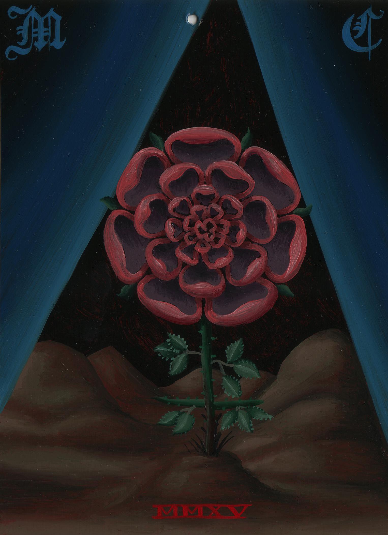 Matthew Couper, Mnemonic Monogram 4, Rose, 2015, Oil on metal, 7x5%22, 17.7x12.7cm, AUD$750.jpg