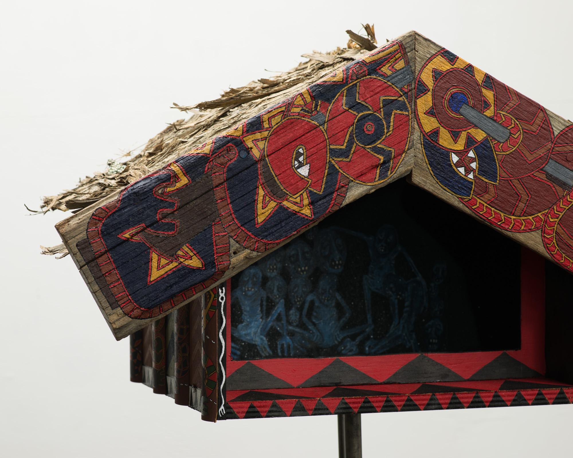 Whetumatarau (Pataka installation) detail  2015  Acrylic, glitter, Manuka, mechanics, Musket heirloom on wood  186 x 40 x 70.5cm