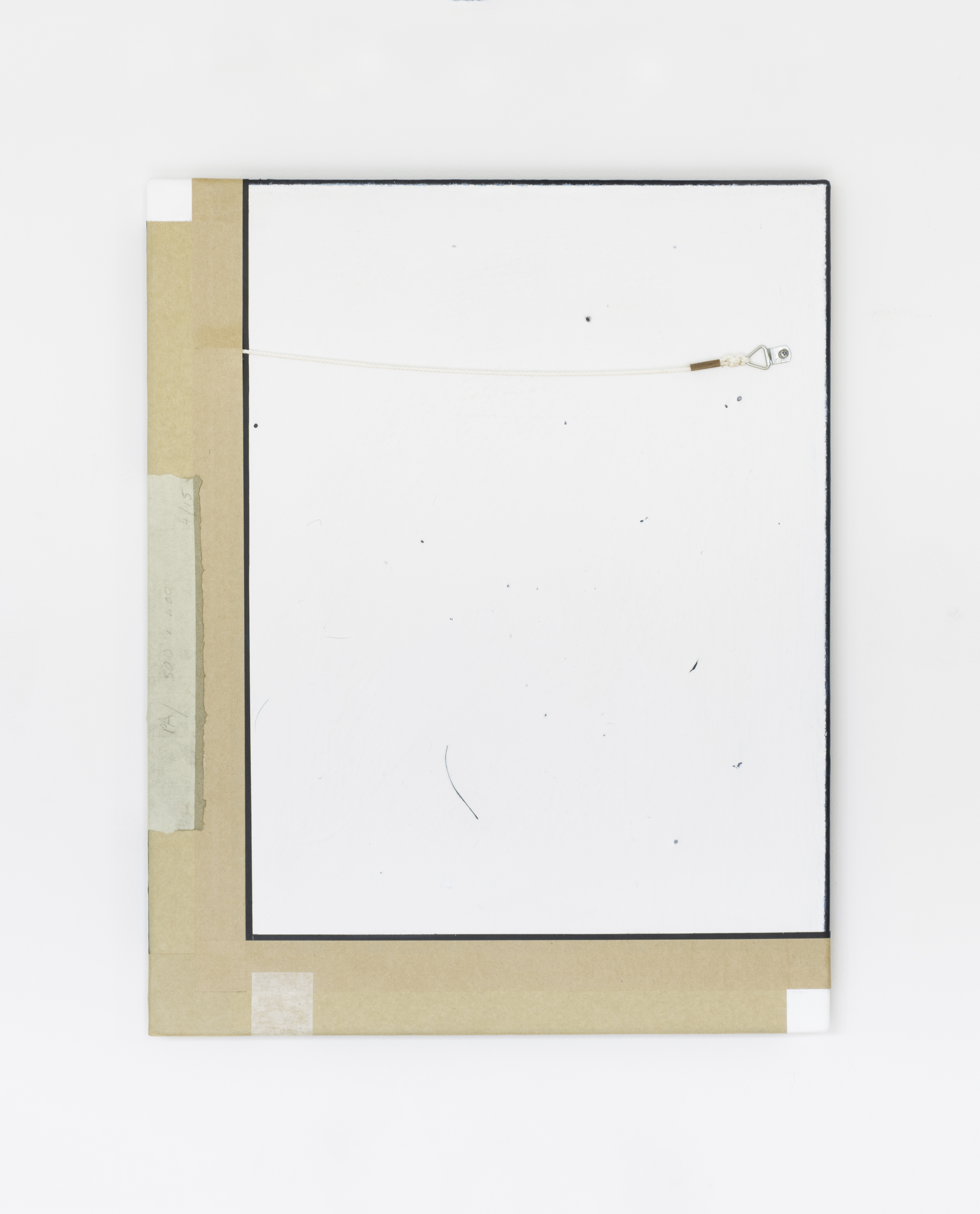 Painting No.4 2015 Awagami paper, painted wallpaper, masking tape, brown framing tape, gum tape, D-hook, white cord, paint, linen, stretcher frame 40 x 50 cm $5000 USD