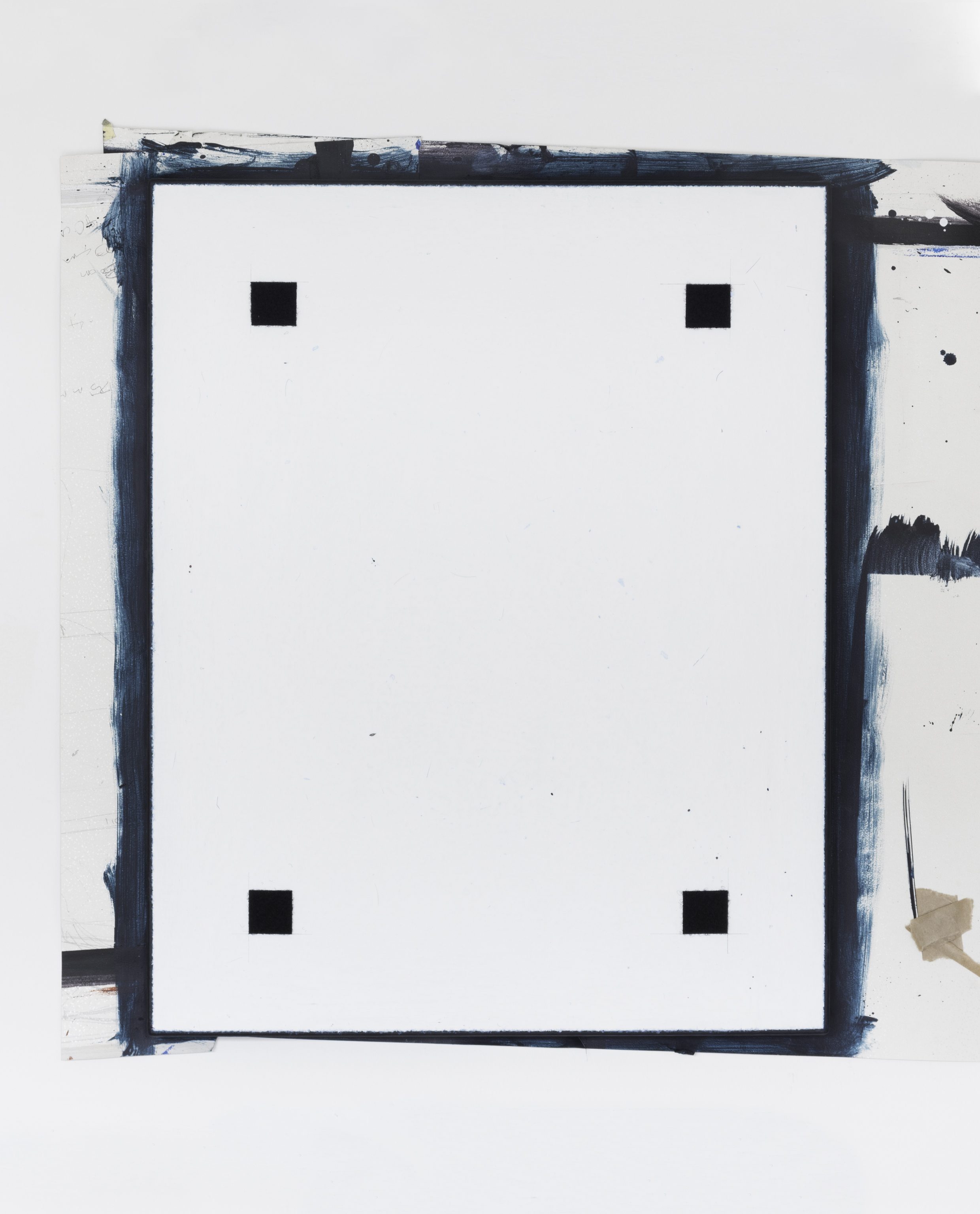 Painting No.6 2015 Velcro, Cole and Son wallpaper, brown framing tape, paint, linen, stretcher frame 40 x 50 cm $5000 USD