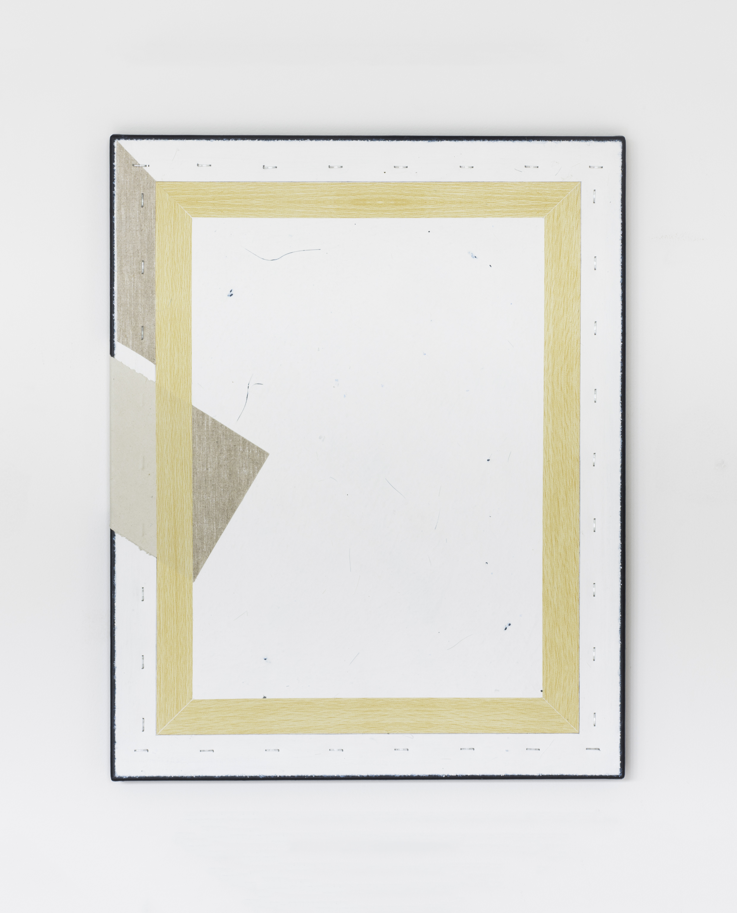 Painting No.9 2015 Awagami paper, vinyl wood adhesive, staples,paint, linen, stretcher frame 40 x 50 cm $5000 USD