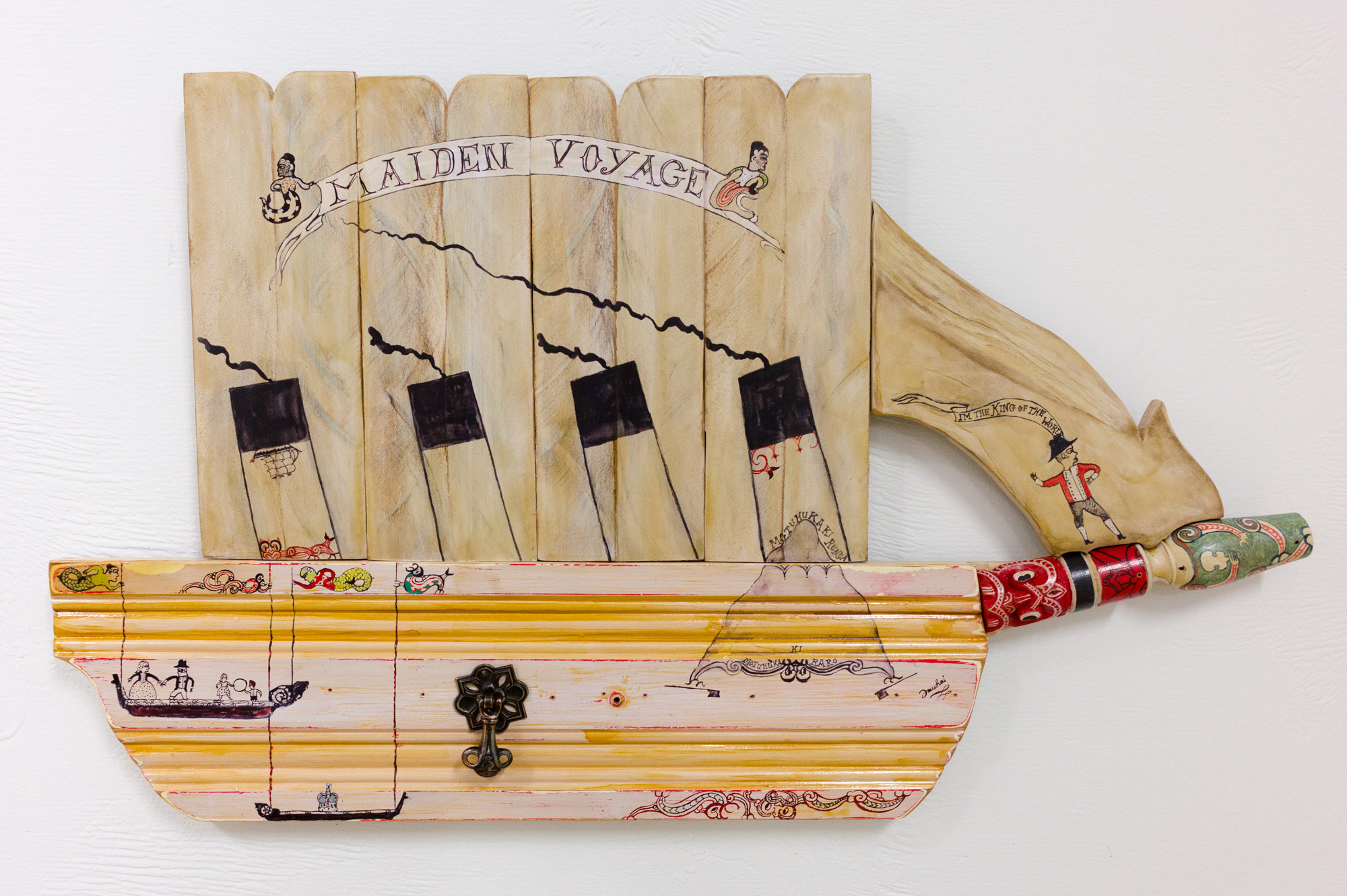 Maiden Voyage 2016 Paint and whakairo using reclaimed wood 440 x 745 x35mm    This work illustrates the maiden voyage of the infamous ship Titanic as a parallel     for the negative impacts of colonisation upon Maori.