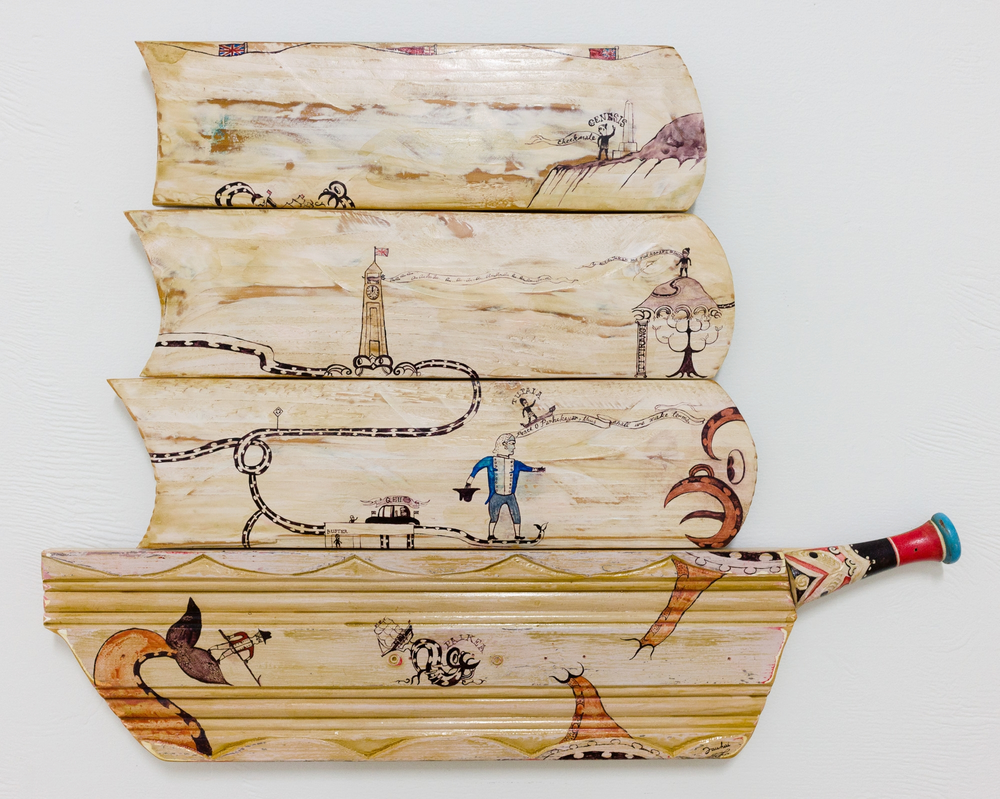 Paikea vs Cook 2016 Paint and whakairo using reclaimed wood  675 x 530 x 35mm    Representing the age-old struggle between British and Maori culture and sovereignty.