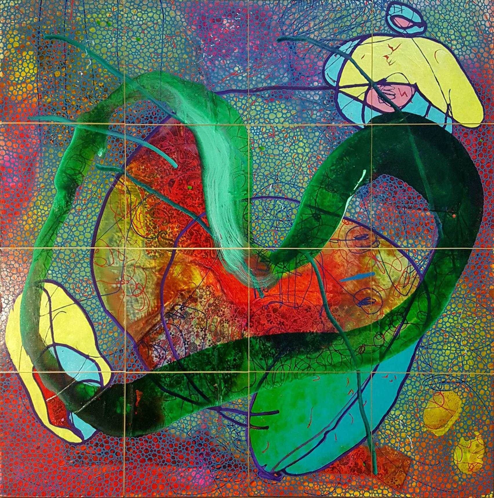 Evan Woodruffe, 28th August, 2017, Acrylic, fabric on rag board, 16 paintings 12.5 x 12.5cm.jpg