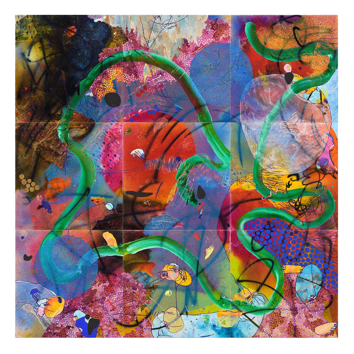 Evan Woodruffe, April-June 2017, 9 panels each 100cm x 100cm, acrylic, fabric and paper on linen. Image Sait Akkirman..jpg