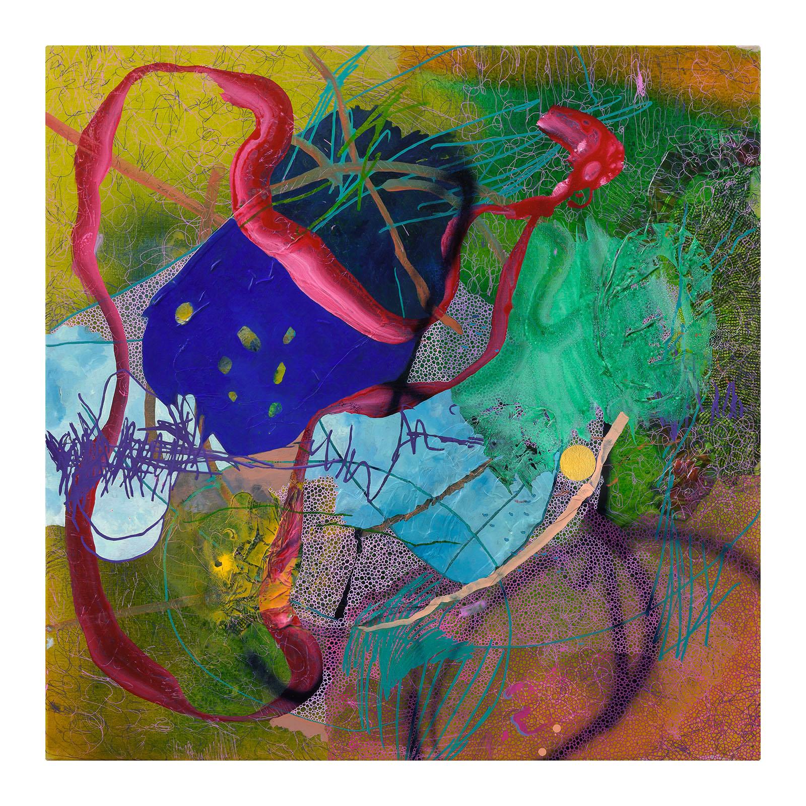 Evan Woodruffe, 18th February 2019, 100cm x 100cm, acrylic, fabric, gold leaf and mica on linen.jpg